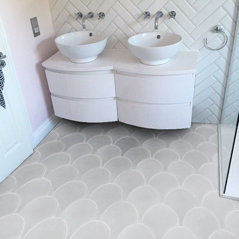 Ash Solid Scallop 8 Made To Order Tiles Scallop Tiles Room Tiles
