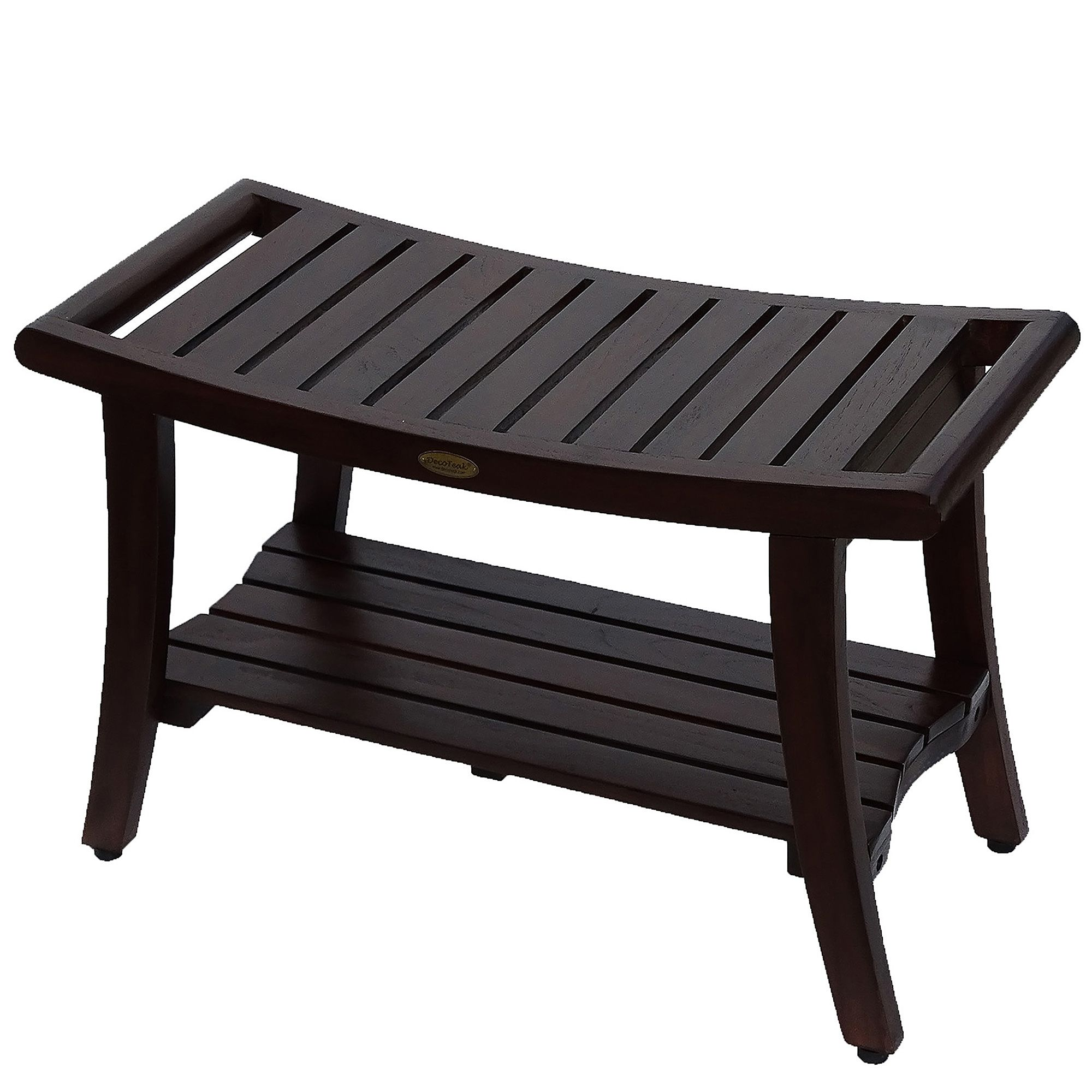 Harmony 30 Inch Teak Bench With Shelf And Liftaide Arms Teak