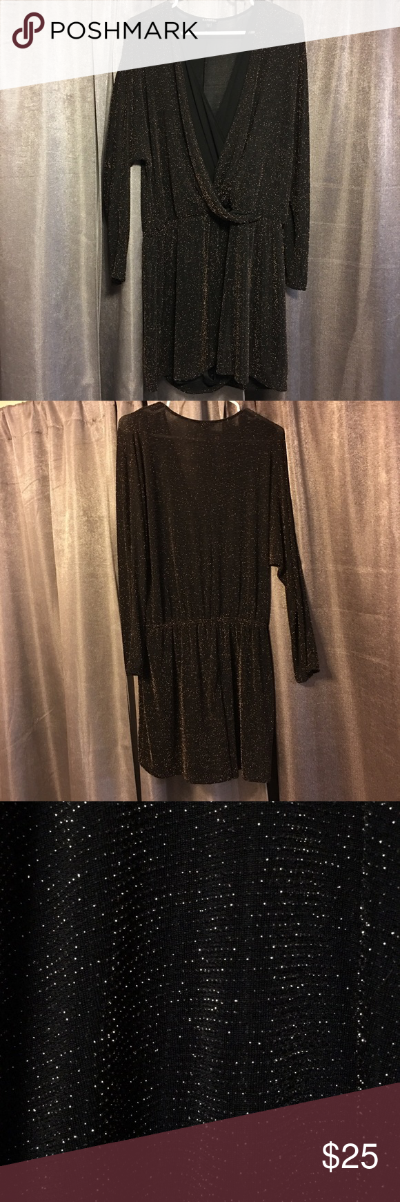 bae928d9 Express Glitter Romper large black gold I wore this once and it's super  comfortable and chic! It's very stretchy and could easily fit up to a size  16/18.