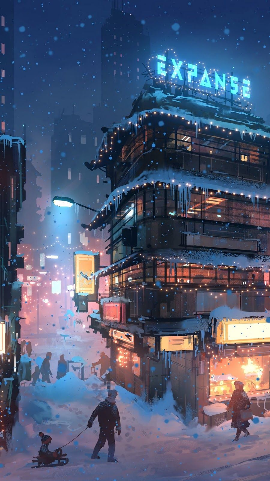 City Winter Digital Art Mobile Wallpaper Snow People Futuristic City Cyberpunk City City Background