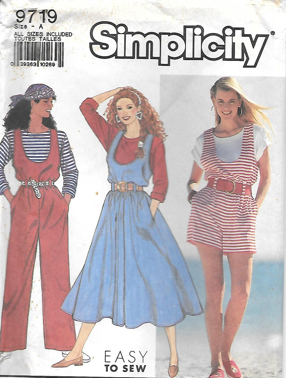 1990s Simplicity 9719 Easy To Sew T Shirt Jumper Jumpsuit And Romper Vintage Sewing Pattern Xxs To L Uncut Ff Sewing Dresses Jumpsuits And Romper Sewing Clothes