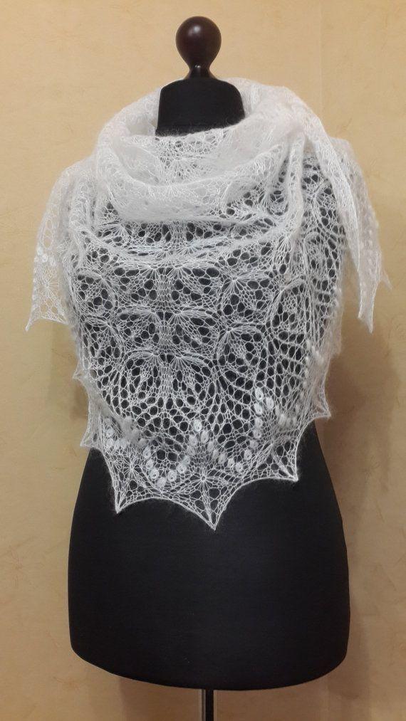 Knitted mohair white shawl Lace knit shawl Wedding shawl ...