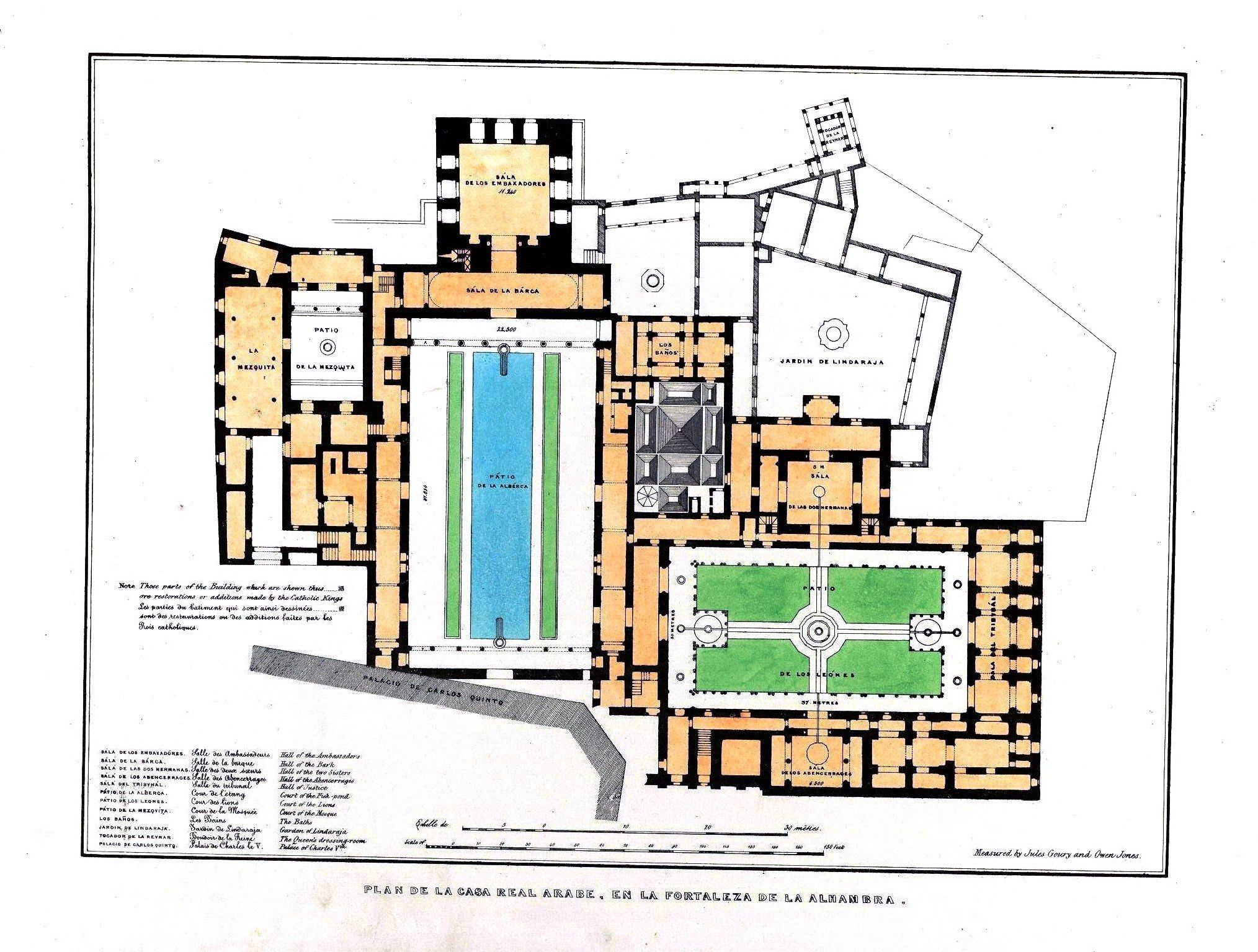 plan de la casa real rabe en la fortaleza de la alhambra