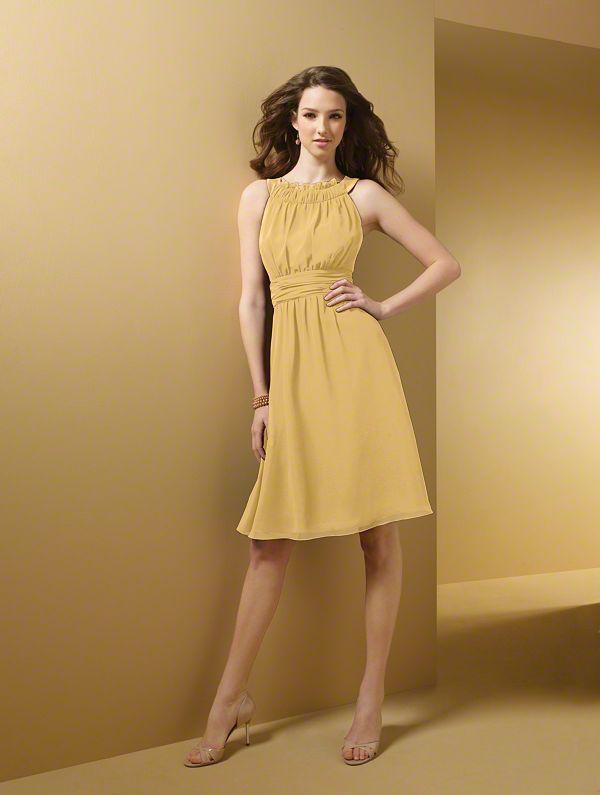 Chiffon, Satin. Cocktail length. Style #: 7053. Gold Dress ...