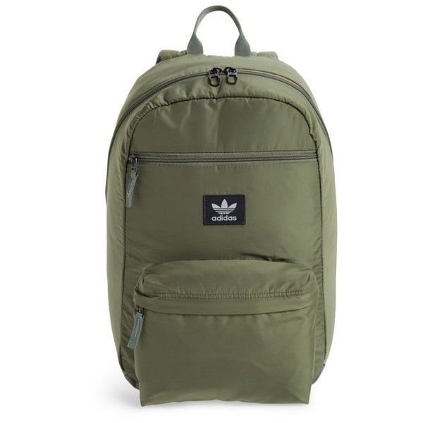 09712e26bb Women's Adidas Originals National Backpack (985 MXN) ❤ liked on Polyvore  featuring bags, backpacks, med green, green canvas backpack, adidas rucksack,  ...