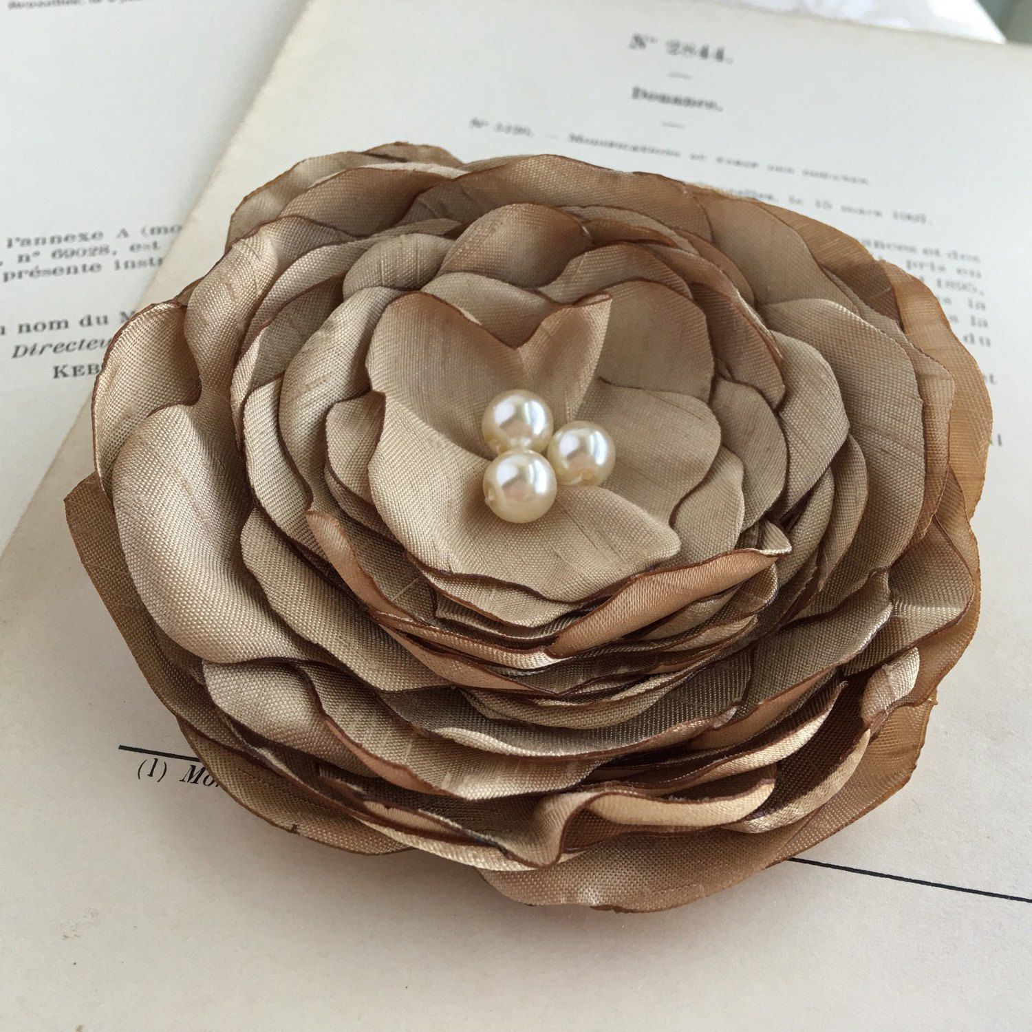 Gold Silk Flower Hair Clipgold Flower Broochgold Pinght Gold