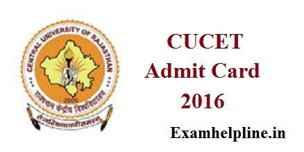 CUCET Admit Card 2016