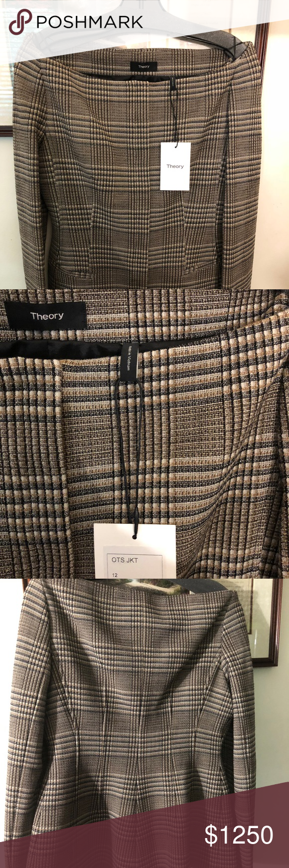 d30982ef09 Theory, off the shoulder, hadfield jacket, NWT Graham Multi plaid, stretch  wool blend, off the shoulder jacket. Exact jacket worn by Meghan Markle.