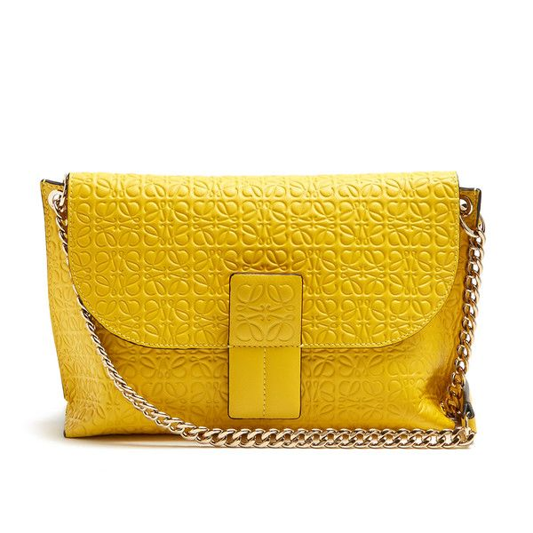 Loewe Avenue leather cross-body bag (€840) ❤ liked on Polyvore featuring bags, handbags, shoulder bags, yellow, genuine leather handbags, leather cross body purse, yellow purse, leather crossbody handbags and leather purses