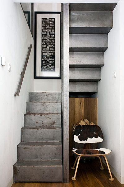 Amazing staircase made from a single ribbon of cold, rolled steel with the perfect patina of rust.