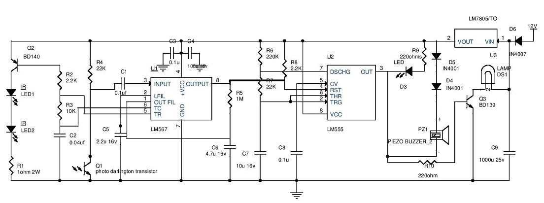 car parking guard circuit using infrared sensor circuit explanation