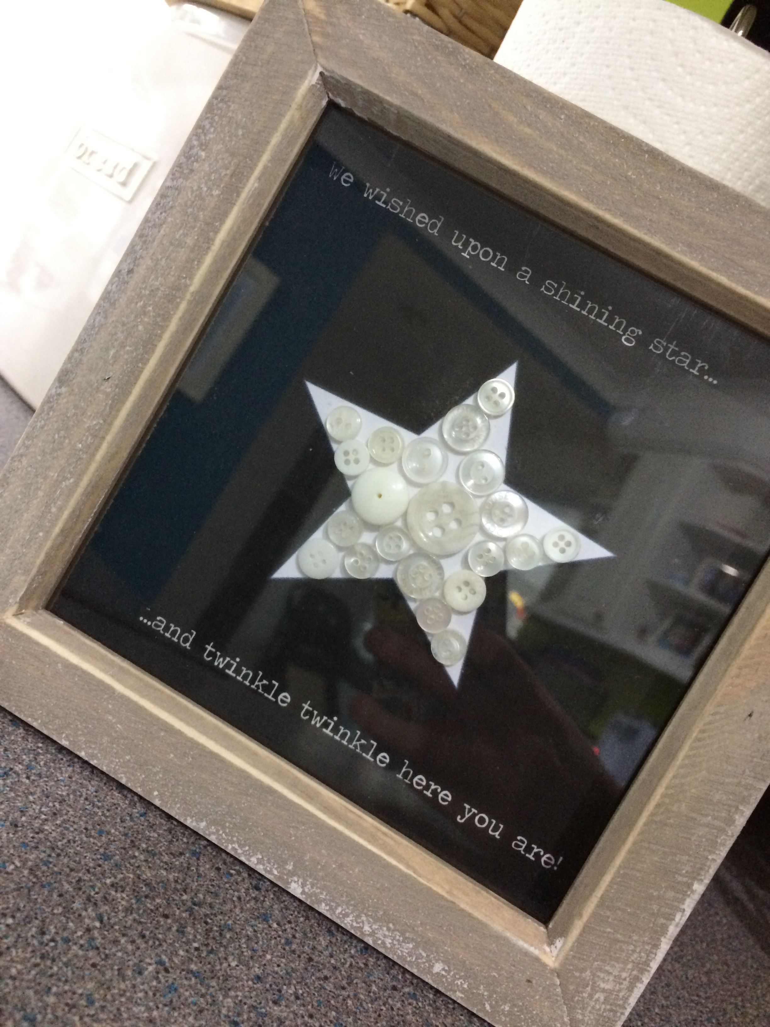 Washed Wood Black Star Frame Button Effect With Twinkle Twinkle Star
