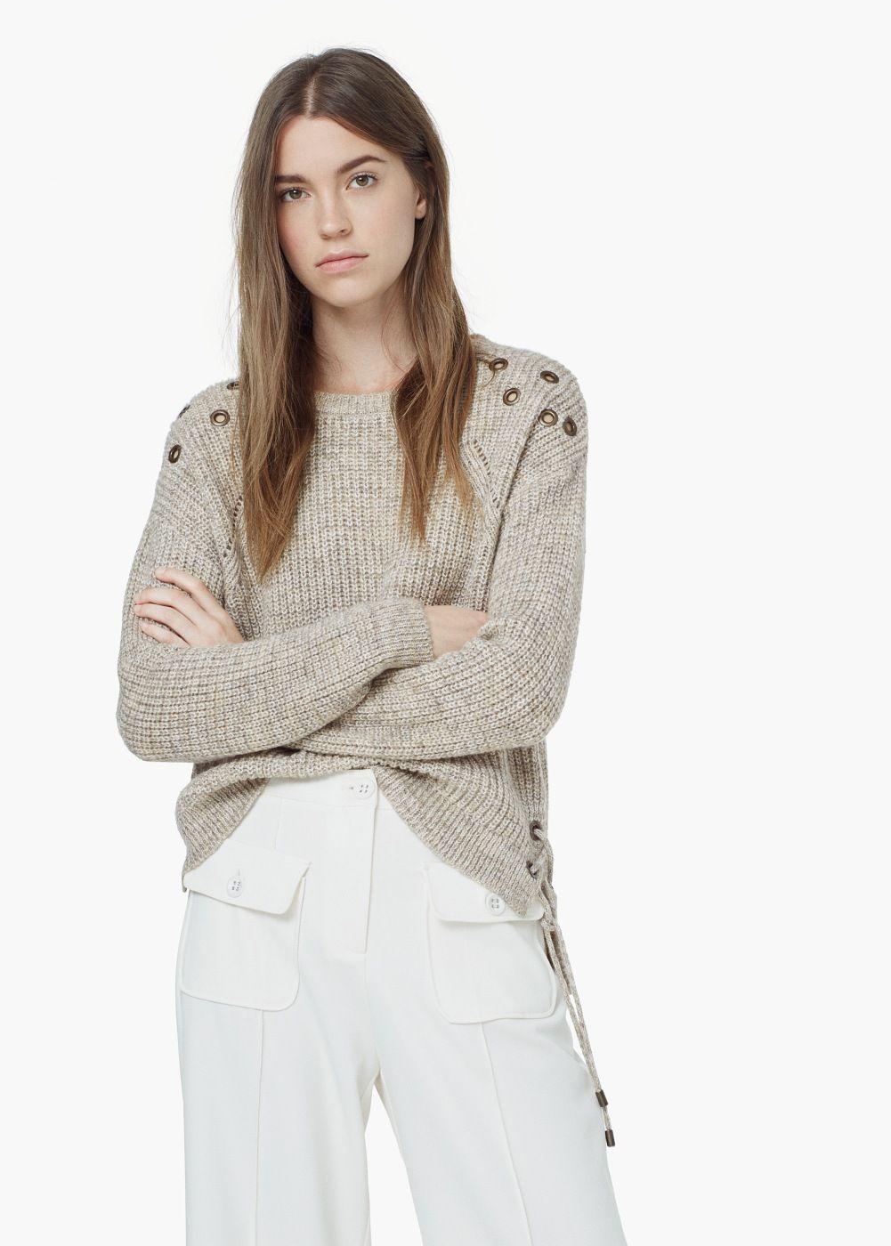 Studded sweater -  Women   MANGO