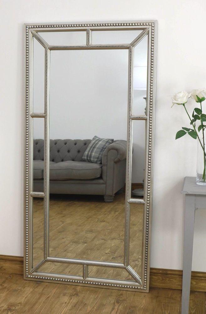 Hampton Silver Ornate Rectangle Beaded Floor Mirror 62\