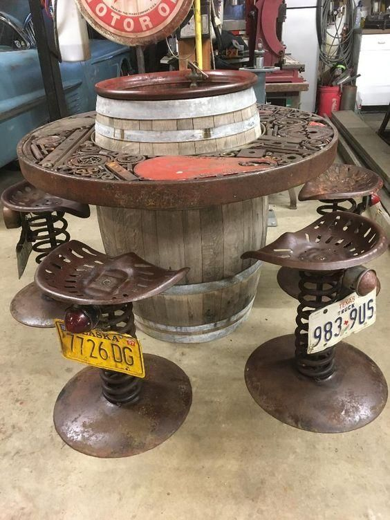 This very cool rustic table set is ready to be used for entertaining with friends. The artist repurposed a lot of great findings to make this table set. Table measures 45