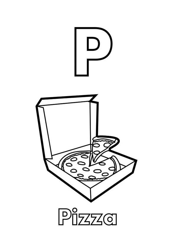 Letter p, Letter P is for Pizza Coloring Page: Letter P Is