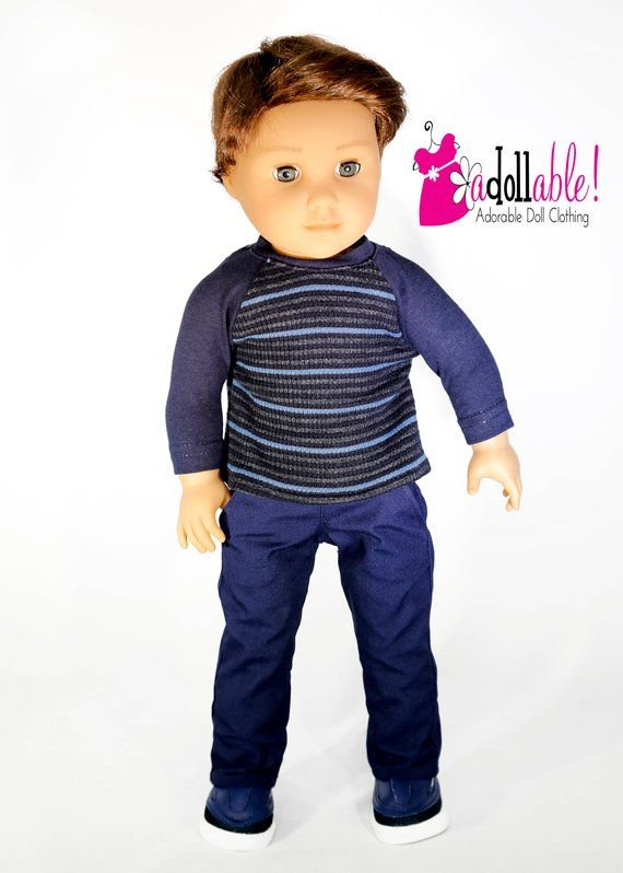 Fits like American boy doll clothes/ 18 inch boy doll clothes/ Navy Baseball Tee and Navy Long Pants