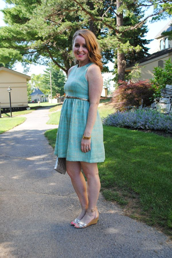 Summer Wedding Guest | Mint U0026 Gold Dress, Silver Wedges // Style Me Thrifty