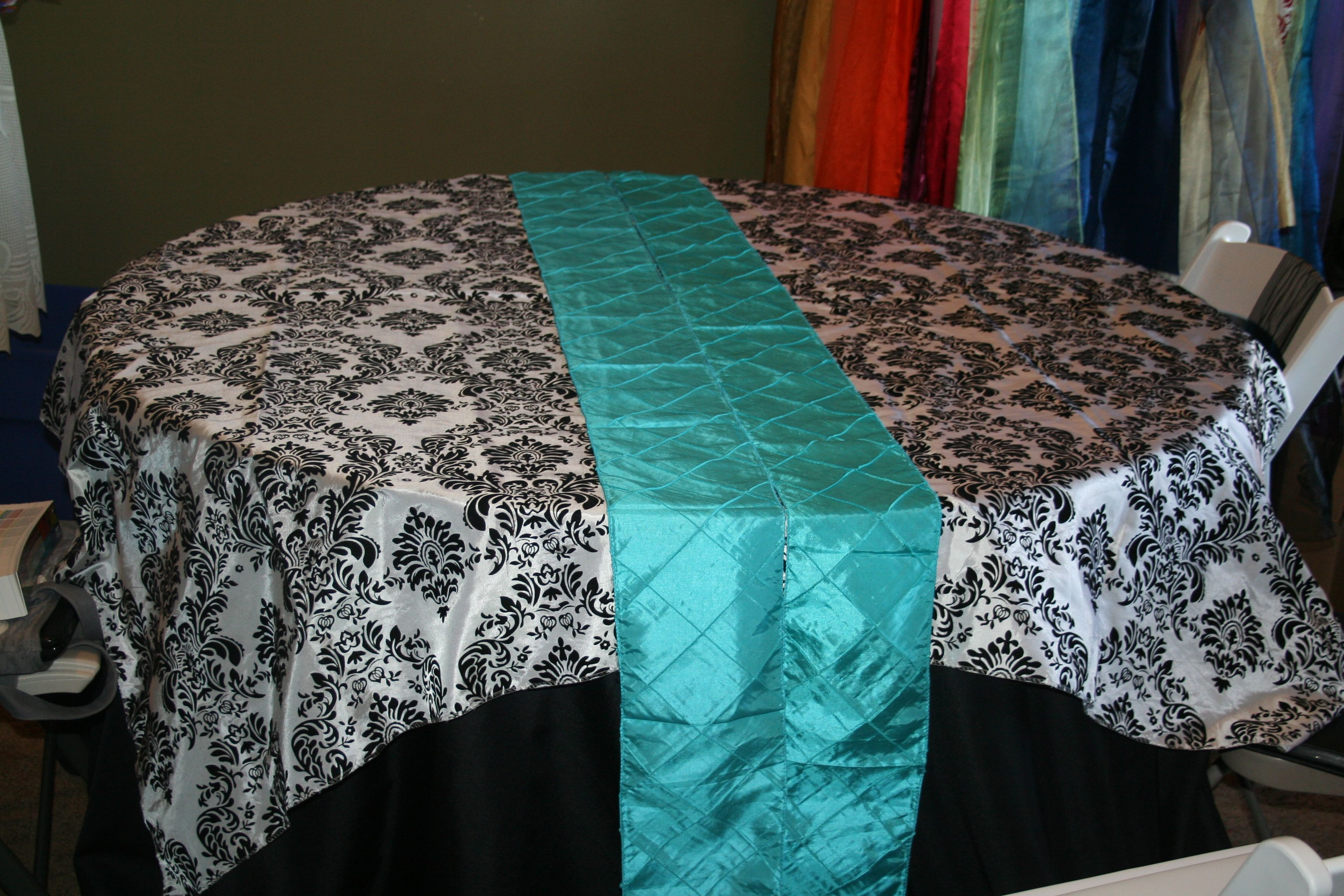 Basic Black Tablecloth With Black And White Flocked Damask Overlay,