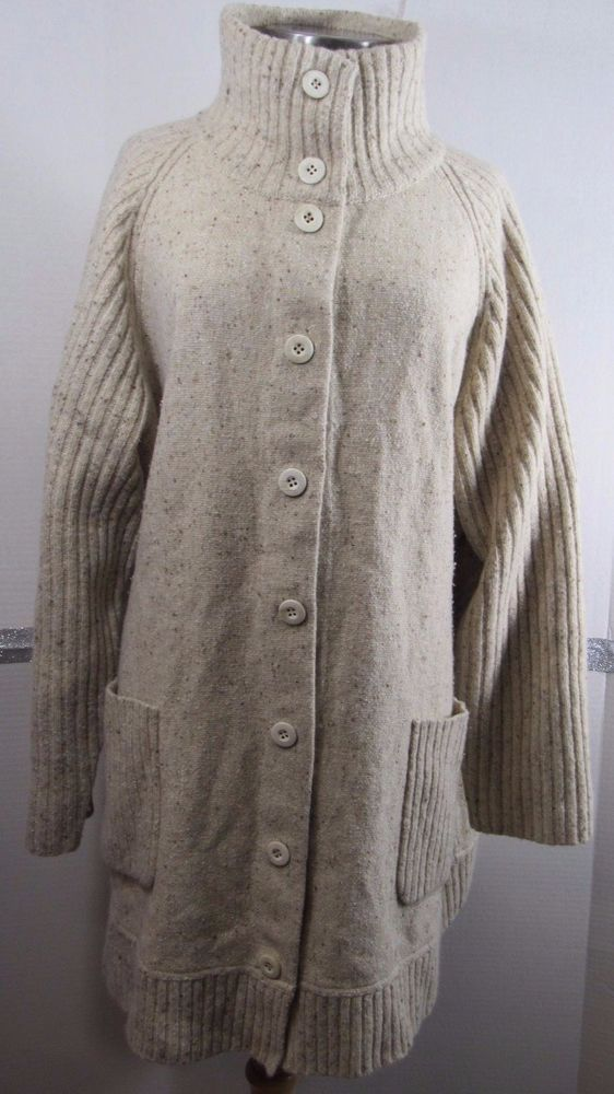 374ad13d791 Eileen Fisher Sweater Coat 3X Oatmeal Brown White Tweed Lambswool Angora  Silk Bl  EileenFisher  Sweatercoat  Work