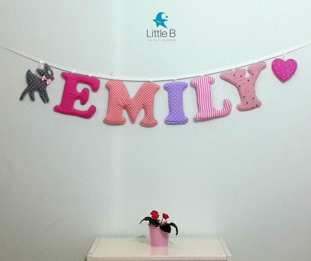 Emily Name BannerNursery Wall Letters Girl Nursery Letters Wall