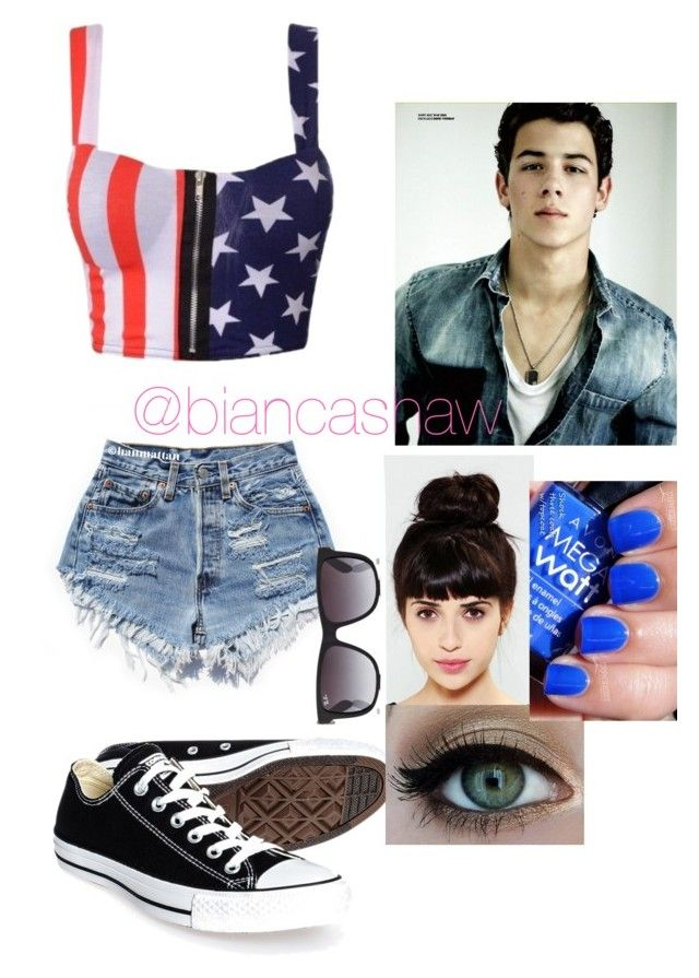 """""""4th of July with Nick Jonas"""" by biancashaw ❤ liked on Polyvore featuring moda, Ravel, Converse, MIA, Avon y Ray-Ban"""