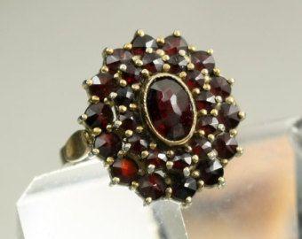 Vintage Bohemian Garnet Ring Gold Washed Sterling Silver Rose Cut Rosecut Gemstone Ring US Size 6 7 UK Size N Cocktail Ring Statement Ring