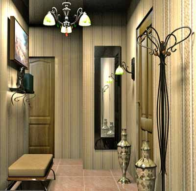 Light entryway decorating ideas 3d models entryway for Foyer wallpaper ideas