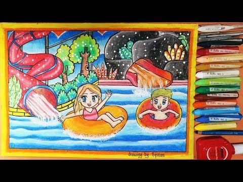 Cara Gradasi Warna Ep 57 Kolam Berenang Dan Waterboom Dengan 12 Warna Oilpastel Youtube Gambar Pelajaran Seni Warna