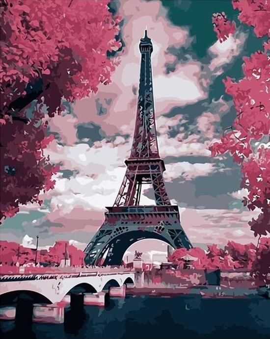 Eiffel Tower Paris DIY Paint By Numbers Number Canvas Painting Number Landscape