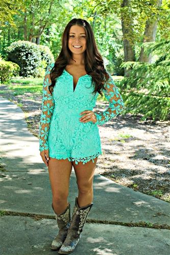 aaa8f9ca4343 Mint Lace Romper and Cowboy Boots