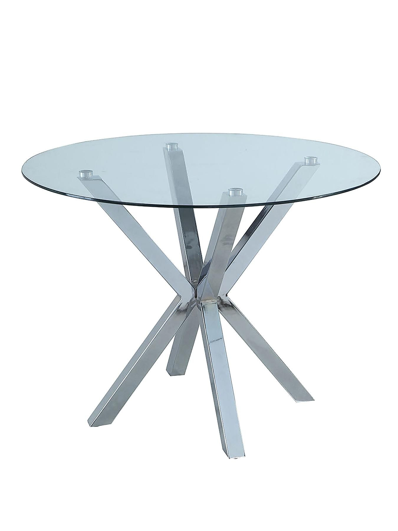 Chopstick Clear Glass And Chrome Round Dining Table  100
