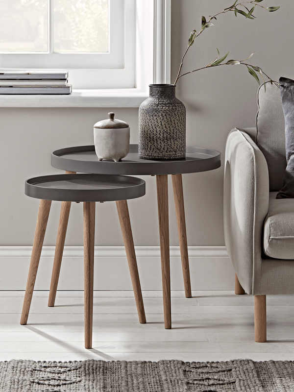 New Mila Side Tables Charcoal Round Metal Side Table Small