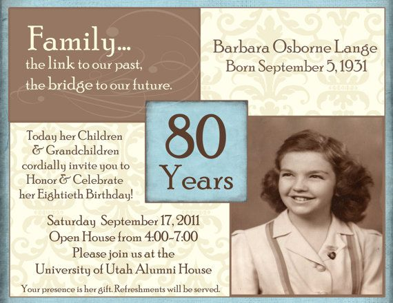 80th Birthday Digital Invitation By Stonelovedesigns On Etsy 1500