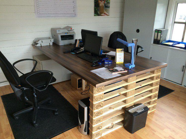 Bureau en bois 34 ides DIY trs cool en palette Europe Bureaus