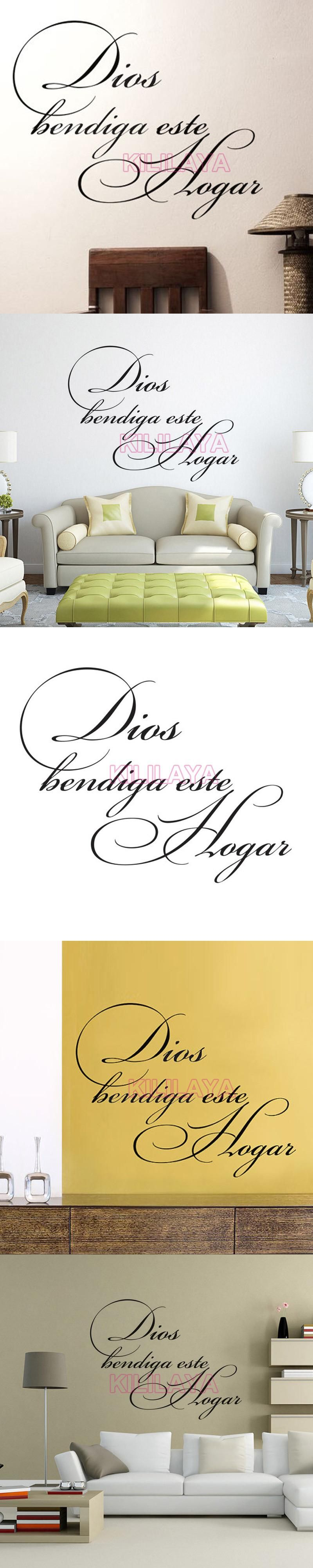 Stickers Spanish Quote Christian Dios Bendiga Este Hogar Vinyl Wall ...