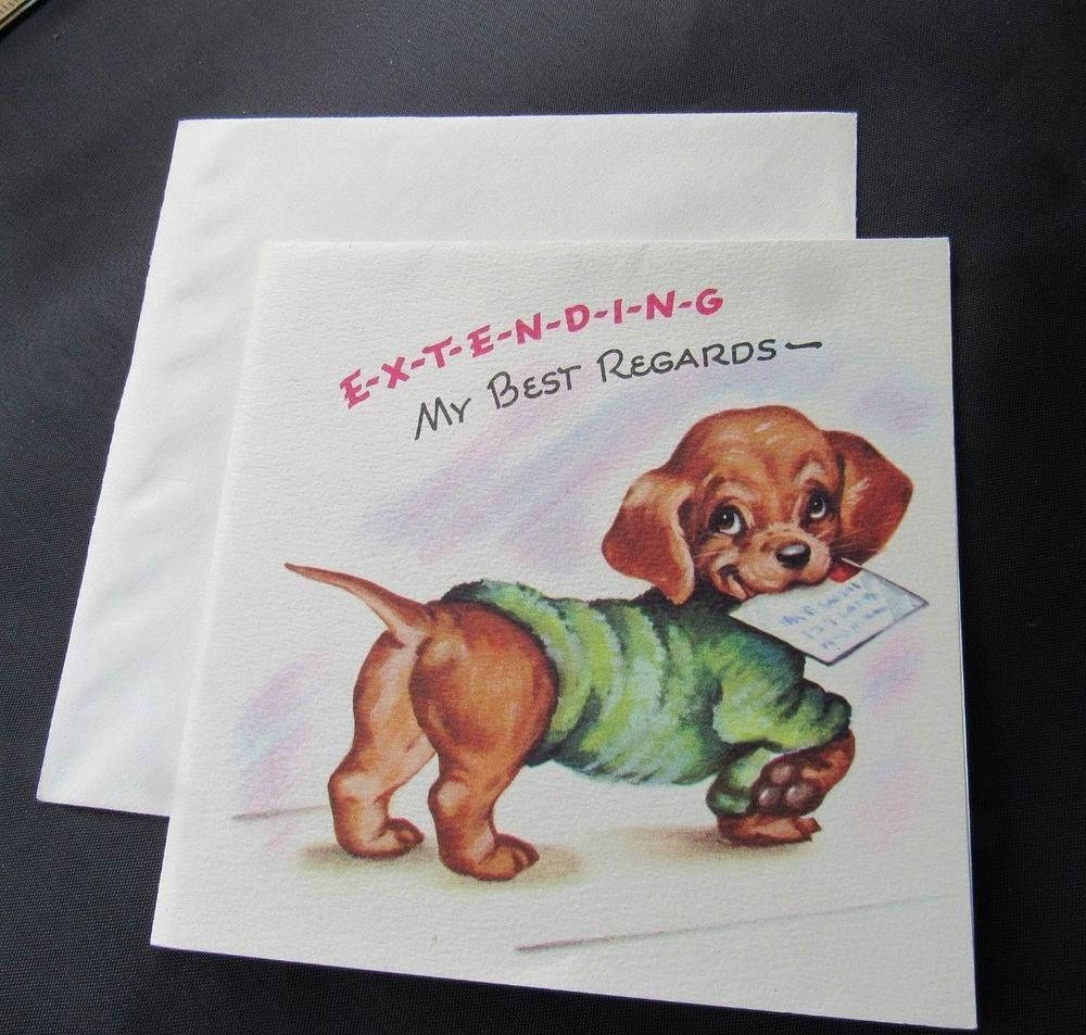 Unused Vintage Greeting Card Best Regard Congratulation Dachshund Puppy Chuckles Dachshund Puppy Dachshund Dog Animal Advocacy