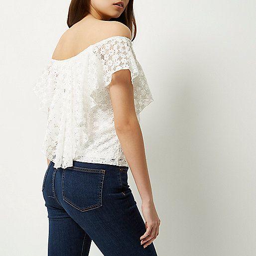 03ebd6ed46dcad Cream daisy lace overlay bardot top - bardot   cold shoulder tops - tops -  women