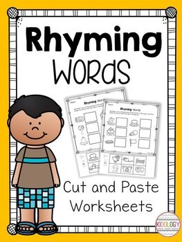 This pack of rhyming words cut and paste worksheets includes ...