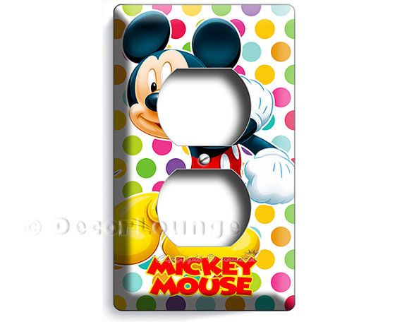 Mickey Mouse colorful polka dot infant Baby Boy Girl decorative duplex outlet wall plate cover newborn nursery bedroom decoration room decor