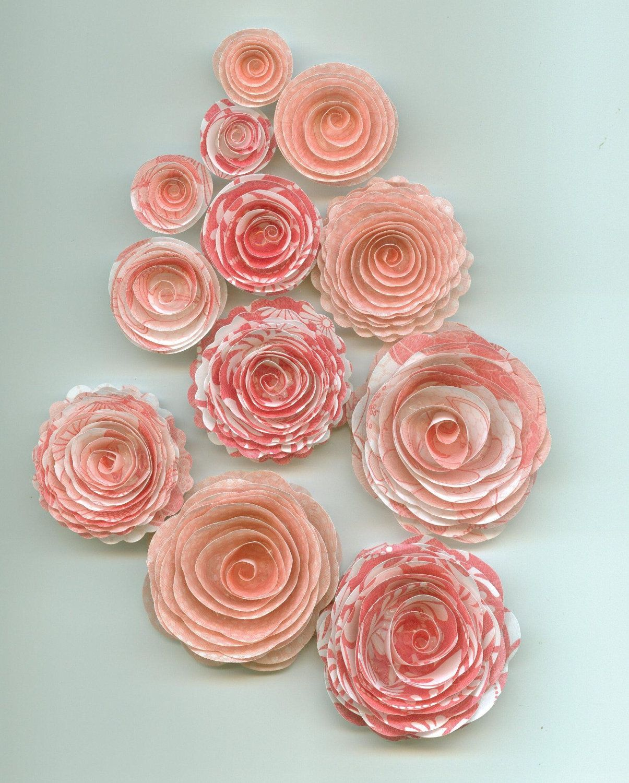 Pink Pattern Handmade Spiral Paper Rose Flowers Pink Patterns