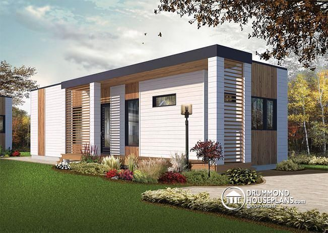 W1906 modern 631 tiny house plan 2 to 3 bedrooms for Casa minimalista 160m2