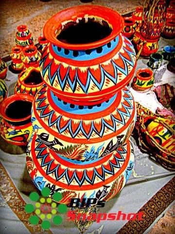 Decorated Alpona Pots India Decor Tribal Art Crafts