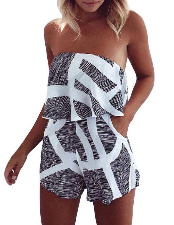 ec78add59cb 2017 Summer Newest Striped Floral Print Women Sleeveless Jumpsuit Cute  Ruffles Slash Neck Rompers Playsuits Casual Beach Cloth