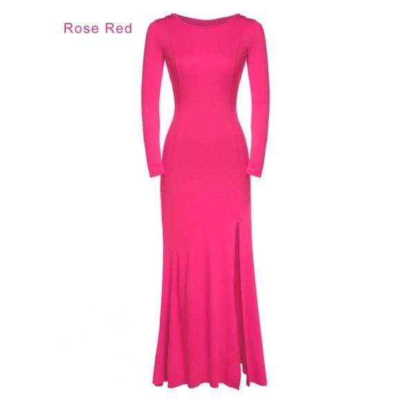 Neon Pink Seamless Maxi Boutique Pink Long Dress Pink Jersey Dress Dresses