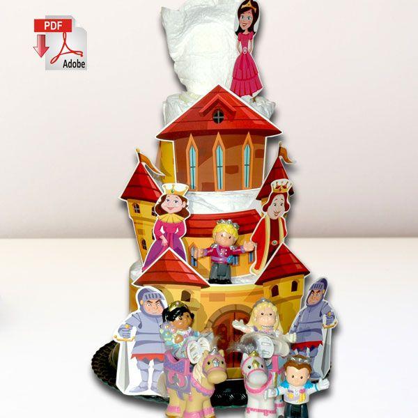Princess Diaper Cake Template