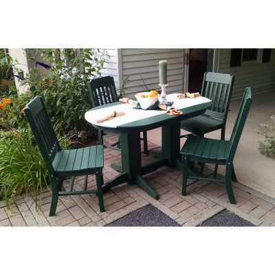 Outdoor A L Furniture Two Tone Poly 5 Pc Oval Patio Set
