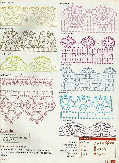 Artes Erica Barradinhos De Croche Diversos Com O Grafico