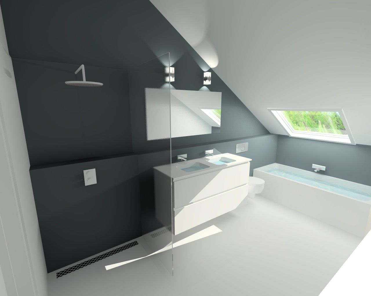 Badkamer met open douche gietvloer en meubel in kerrock solid