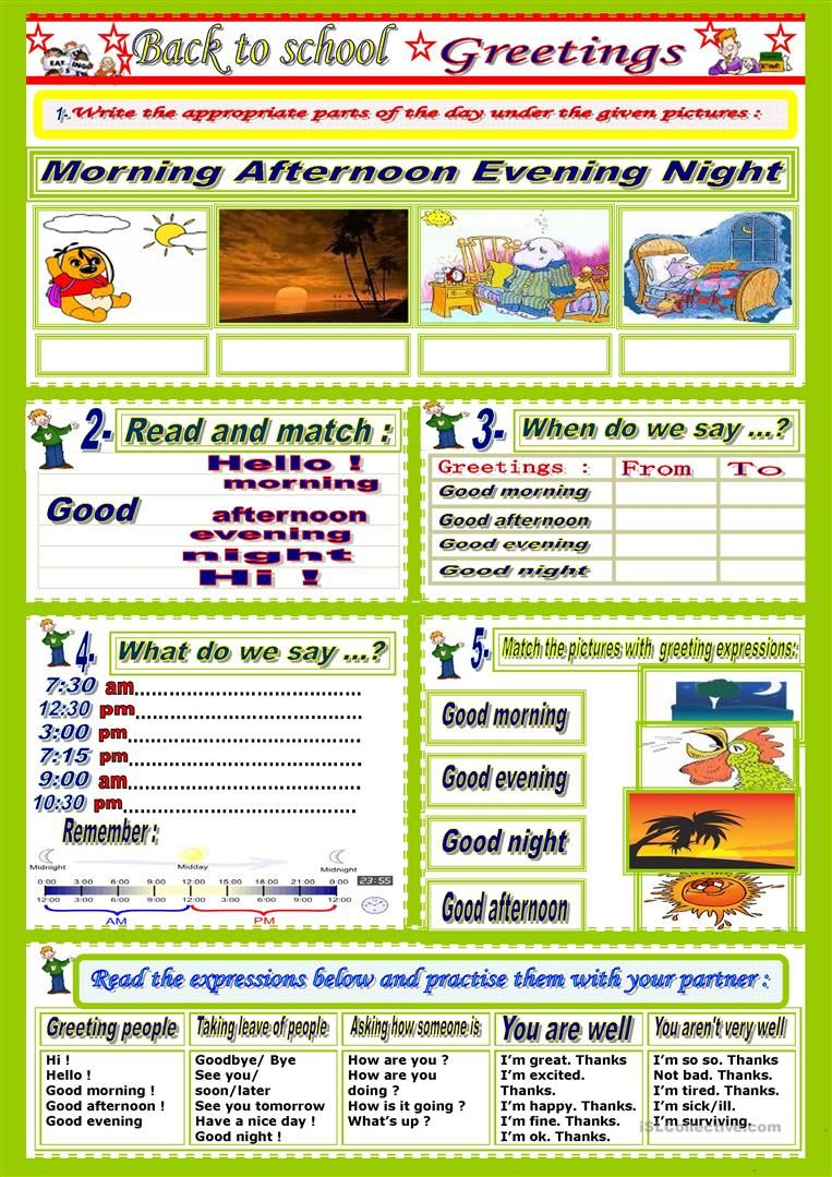Greetings Parts Of The Day English Worksheets For Kids Teacher Binder Printables Free Teacher Binder Printables [ 1079 x 763 Pixel ]